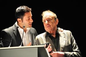 El presentador Jesús Nadador, que estuvo brillante, junto a Adolpho Arrietta
